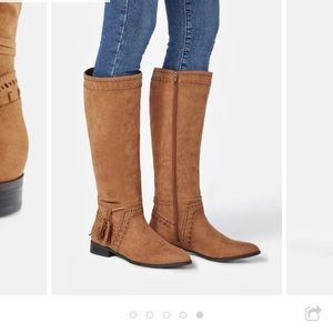 JustFab Walk The Line wide-calf brown boot